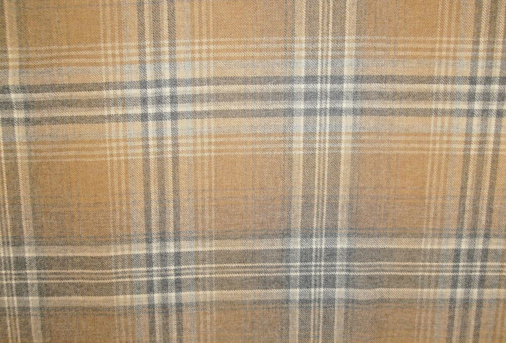 BALMORAL TARTAN 100 WOOL LARGE CHECK FABRIC BEIGE GREY