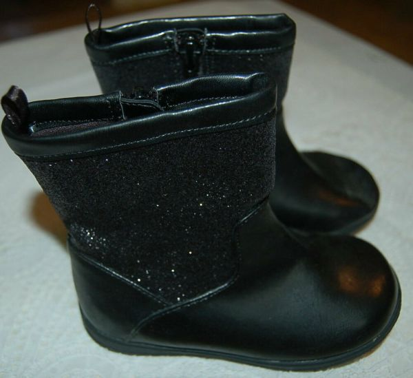 TODDLER GIRLS Black GLITTER Rubber FANCY Boots 2 4 5 6