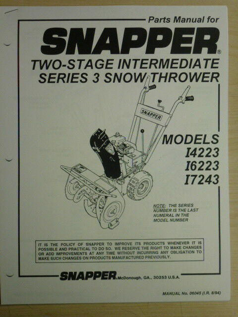 SNAPPER SNOW THROWER TWO-STAGE. SERIES 3. I4223 I6223