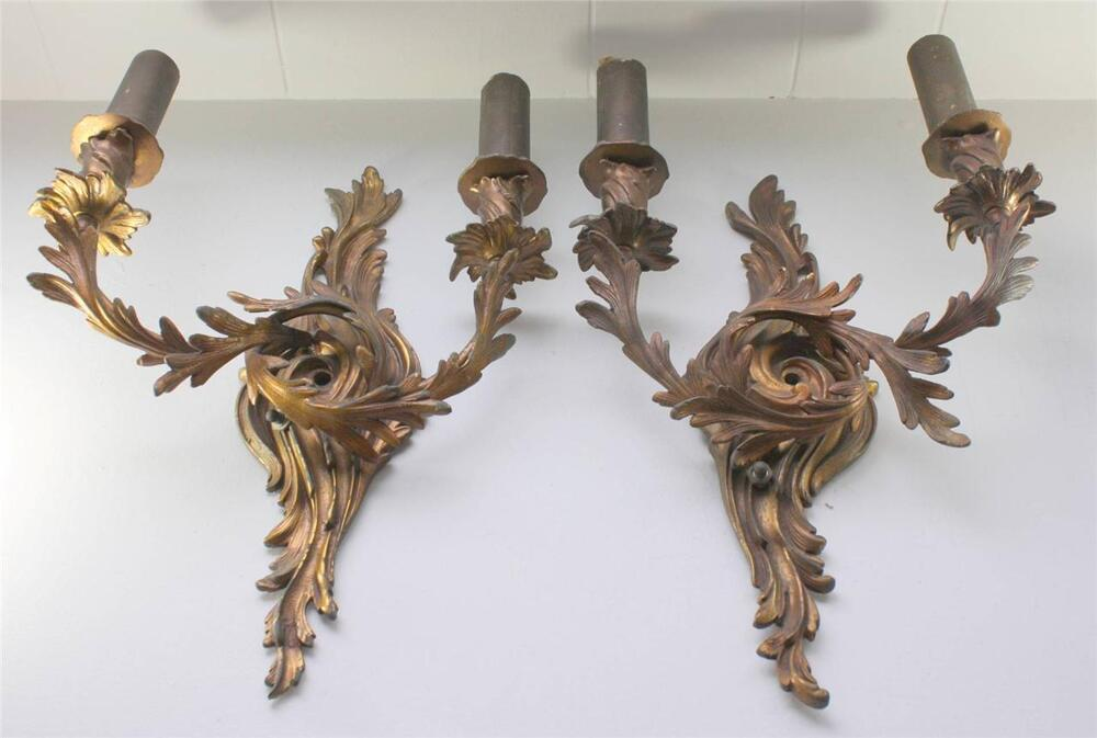Antique Leviton Union Made Ornate Brass Wall Sconce Set