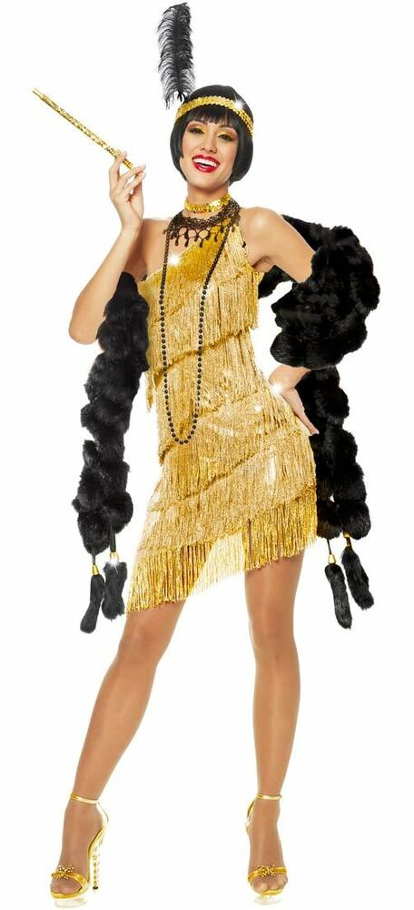 1920S ROARING 20'S ADULT WOMENS GOLD DAZZLING FLAPPER ...