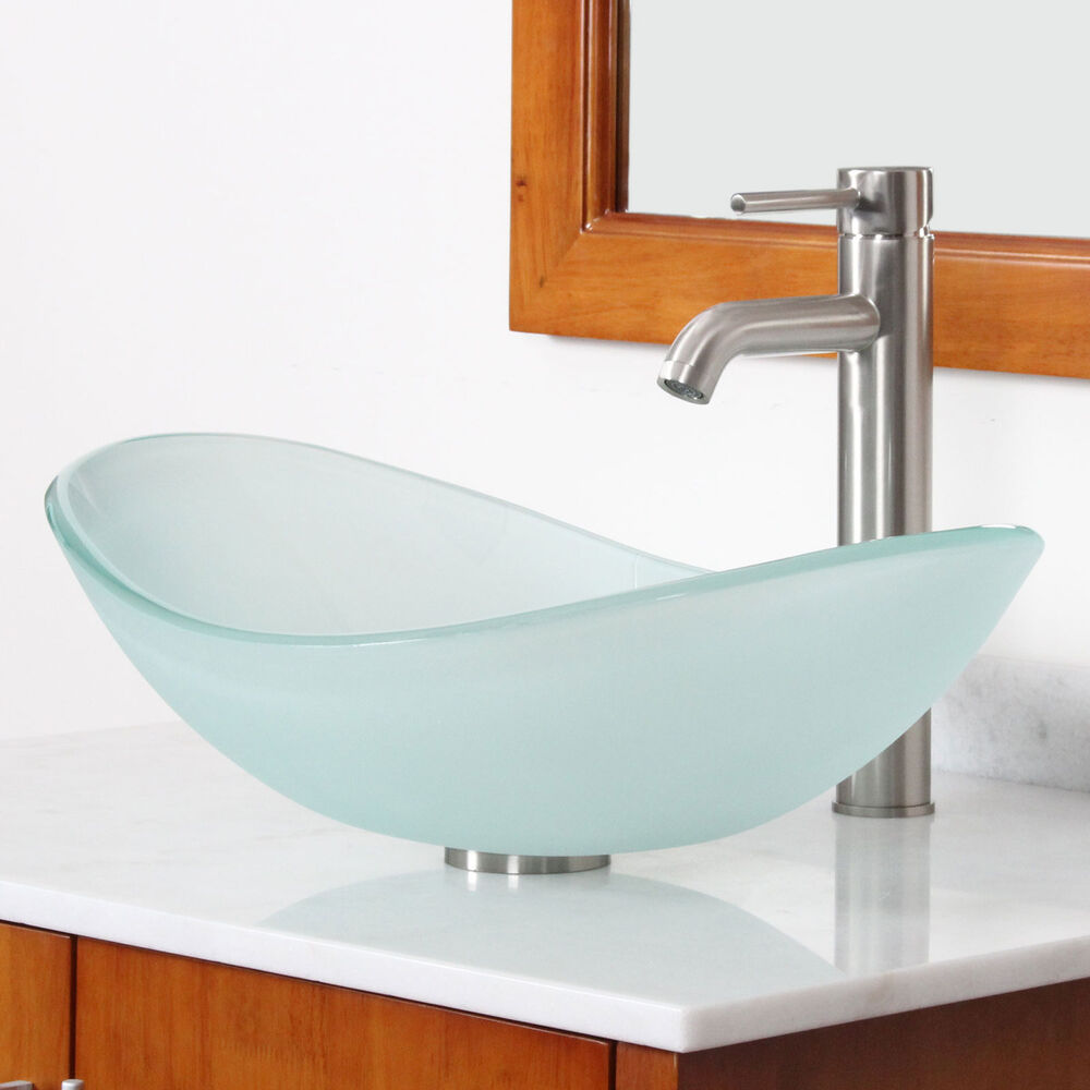 New Bathroom Boat Shape Frosted Glass Vessel Sink  Brushed Nickel Faucet Combo  eBay