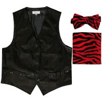 Men's SEQUIN BLACK Tuxedo VEST Waistcoat & RED ZEBRA BOW