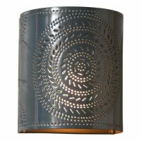 Country new gray punched tin chisel wall sconce light ...