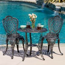Cole 3-piece Bronze Cast Aluminum Outdoor Bistro Set