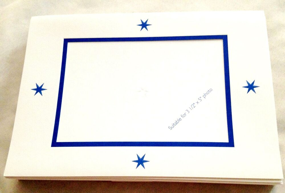 Hallmark 5X7 Blue Star Photo Frame Cards W Envelopes Lot