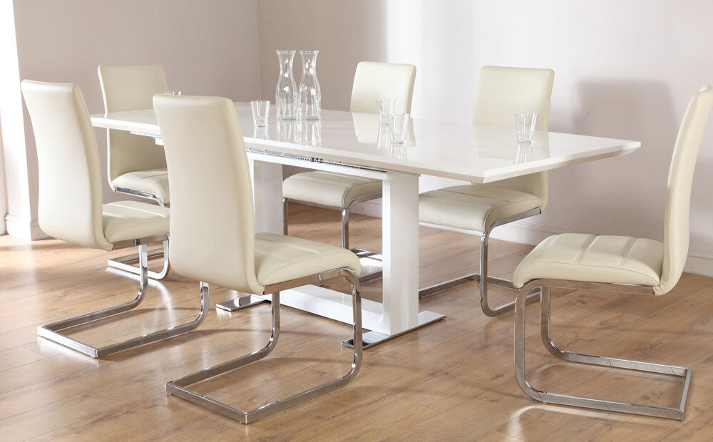 dining table and chair set uk contemporary bar chairs tokyo & perth extending white high gloss 4 6 8 - ivory | ebay