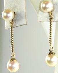 VINTAGE 14K GOLD 6MM PEARL DANGLING EARRINGS | eBay