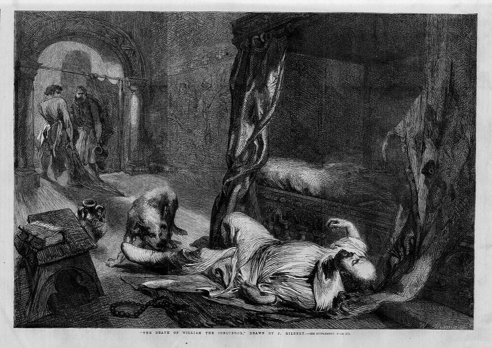THE DEATH OF WILLIAM THE CONQUEROR BY JOHN GILBERT 1861 ANTIQUE ENGRAVING EBay