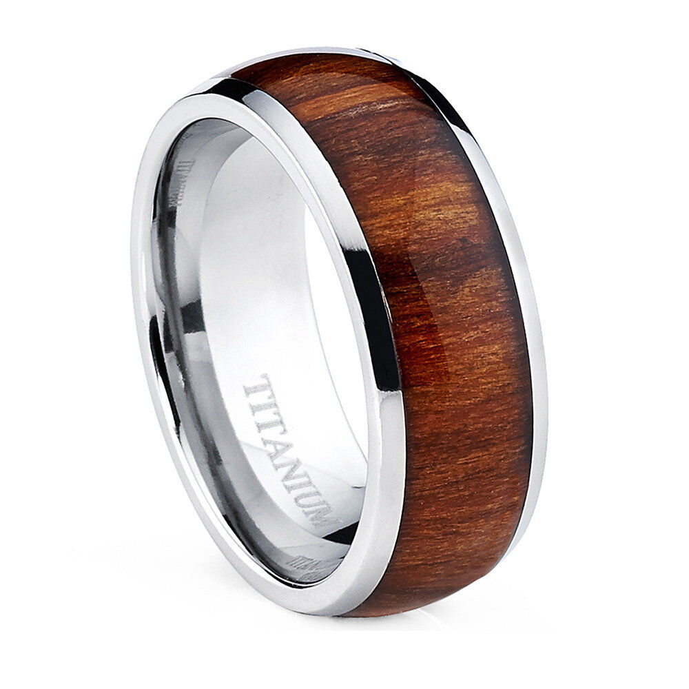 Oliveti Mens Dome Titanium Ring with Real Santos Rosewood Inlay Comfort Fit Rin  eBay