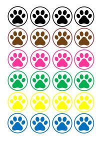 24 icing cupcake cake toppers edible dog paw prints ...