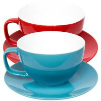 Set of 2 Large 15oz Cappuccino Cups & Saucers Bright Tea