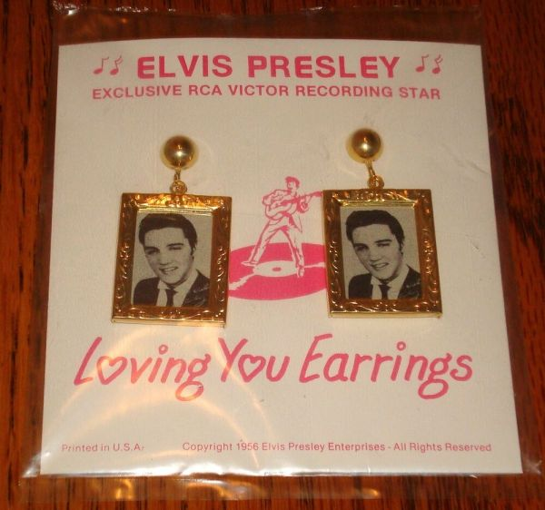 Elvis Presley Earrings Dated 1956 Sealed Free Usa Shipping