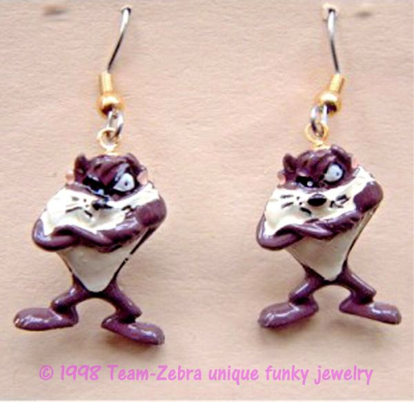 Funky Taz Tasmanian Devil Figure Earrings-vintage Looney