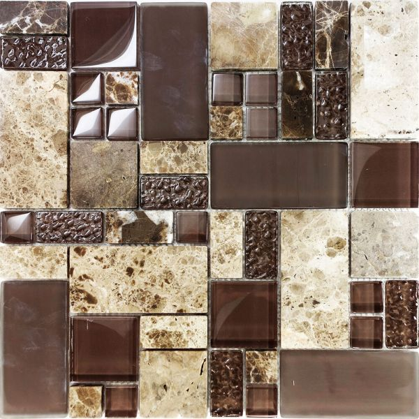 mosaic tile kitchen Sample Brown Pattern Imperial Marble Stone Glass Mosaic