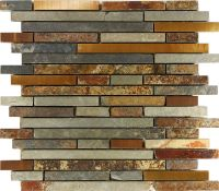 Sample Rustic Copper Linear Natural Slate Blend Mosaic ...