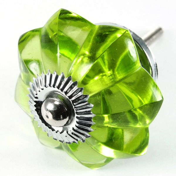 Pc Vintage Green Glass Cabinet Knobs Drawer Handle