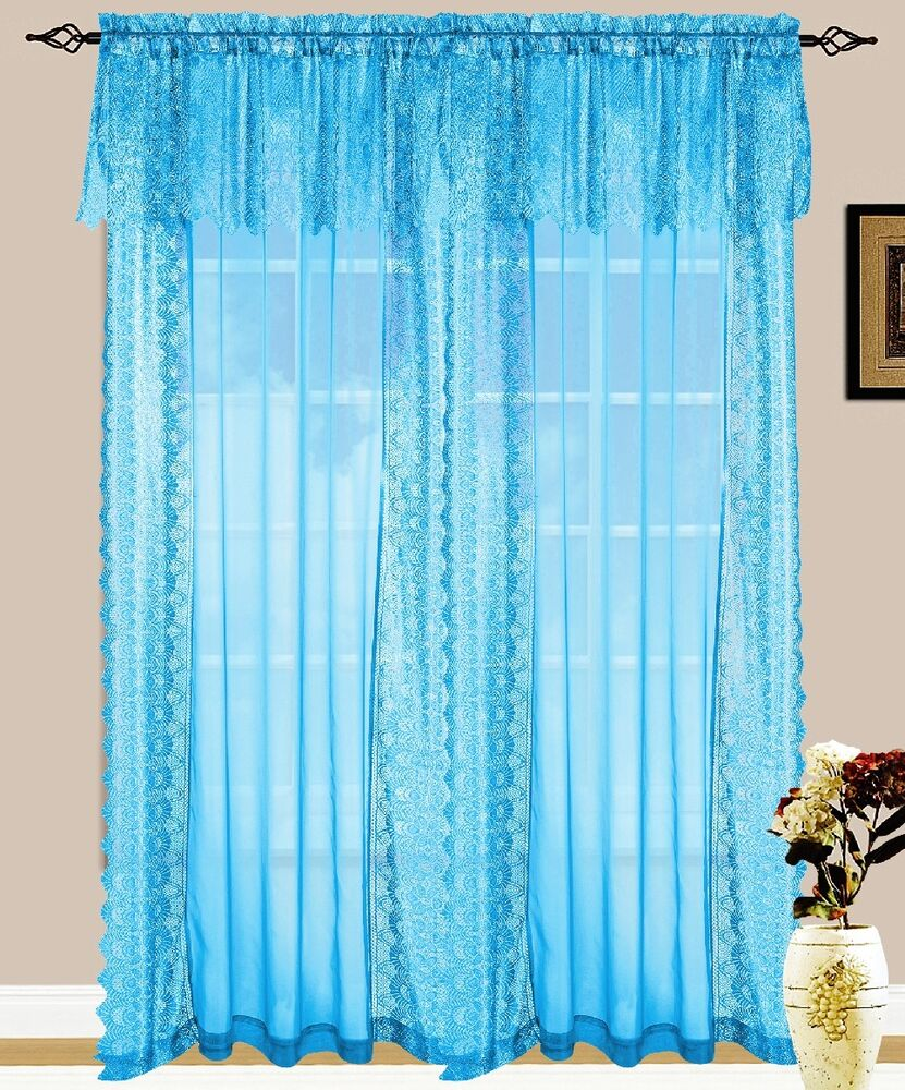 Set Of 2 Jessie Lace And Sheer Curtain Drapery Panel With Attached Valance 84 L EBay