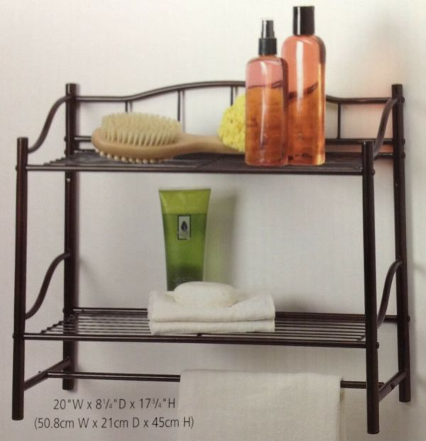 Oil Rubbed Bronze Double Wall Shelf Organizer With Towel