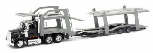 NEW RAY KENWORTH W900 AUTO CAR CARRIER DOUBLE DECKER BLACK