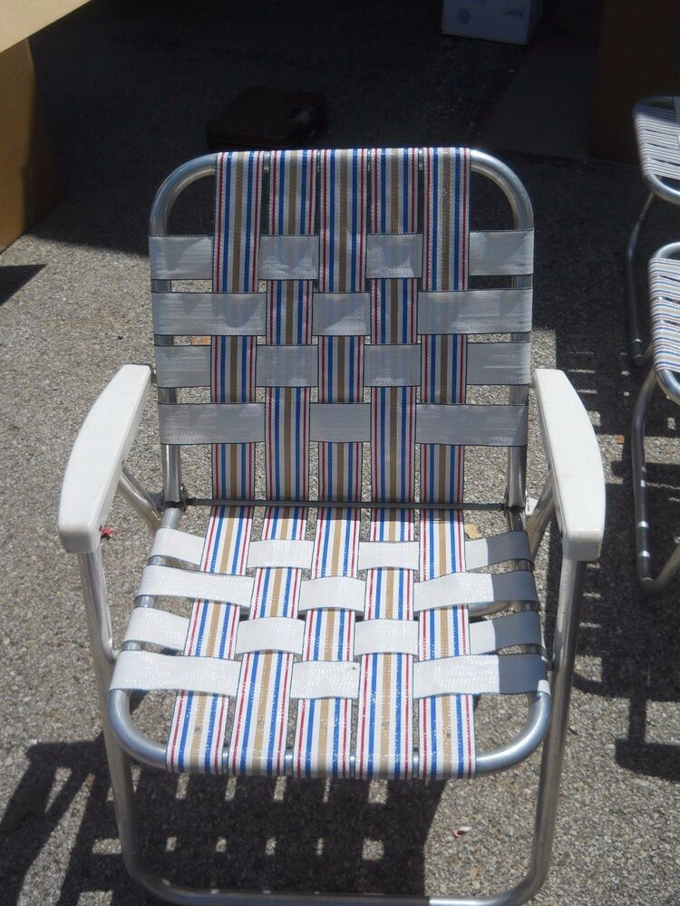 1 VINTAGE LAWN DECK CAMPING CHAIR WEB ALUMINUM FOLDING