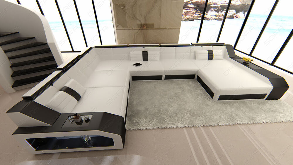 Design Sectional Sofa MATERA XXL with LED Lights white black  eBay