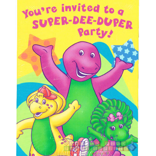 BARNEY Super Dee Duper INVITATIONS 8 Birthday Party