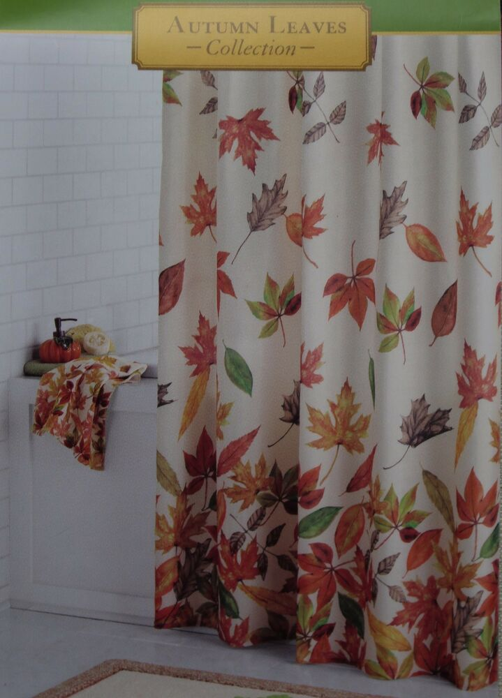 Autumn Leaves Harvest Cacading Leaves Fabric Shower Curtain 70x70 NIP  eBay