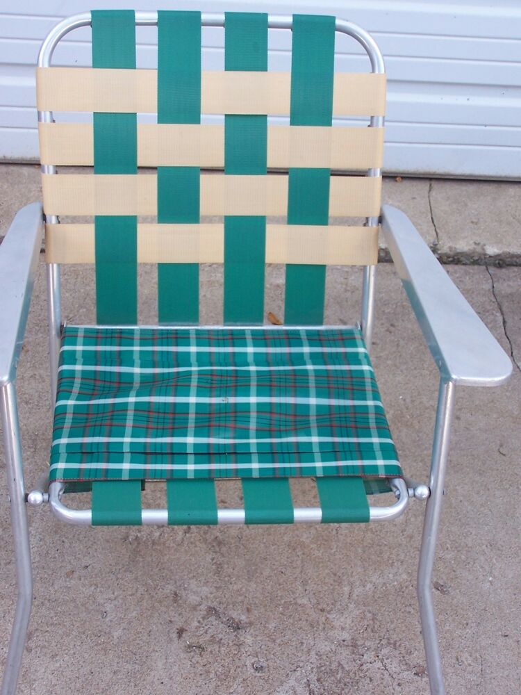 childs lawn chair reclining with ottoman #d vintage deck camping web aluminum folding webbed patio retro | ebay