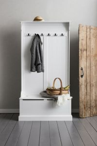 Hallway Bench and Coat Hook Shoe Storage in White Brittany ...
