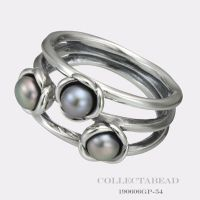 Authentic Pandora Silver Three Wishes Grey Pearl Ring Size ...