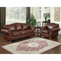 Brandon Distressed Whiskey Italian Leather Sofa and Chair ...