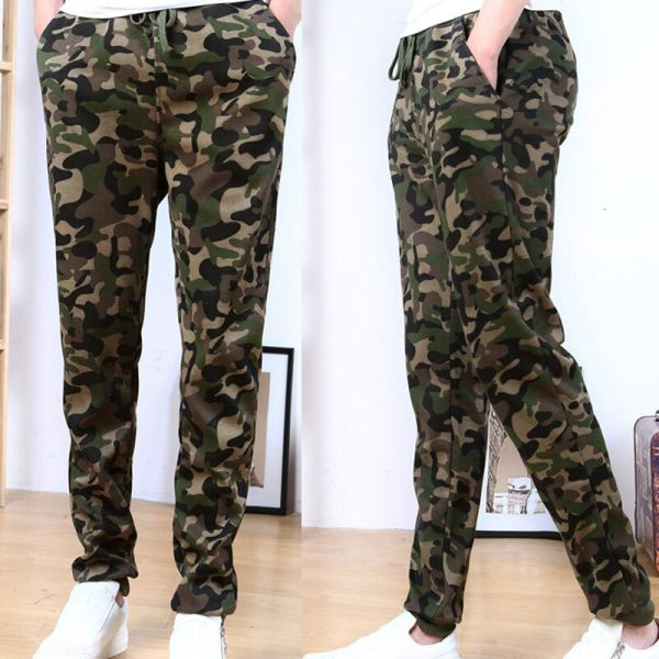 Mens Military Camouflage Camo Casual Pants Boy Joggers