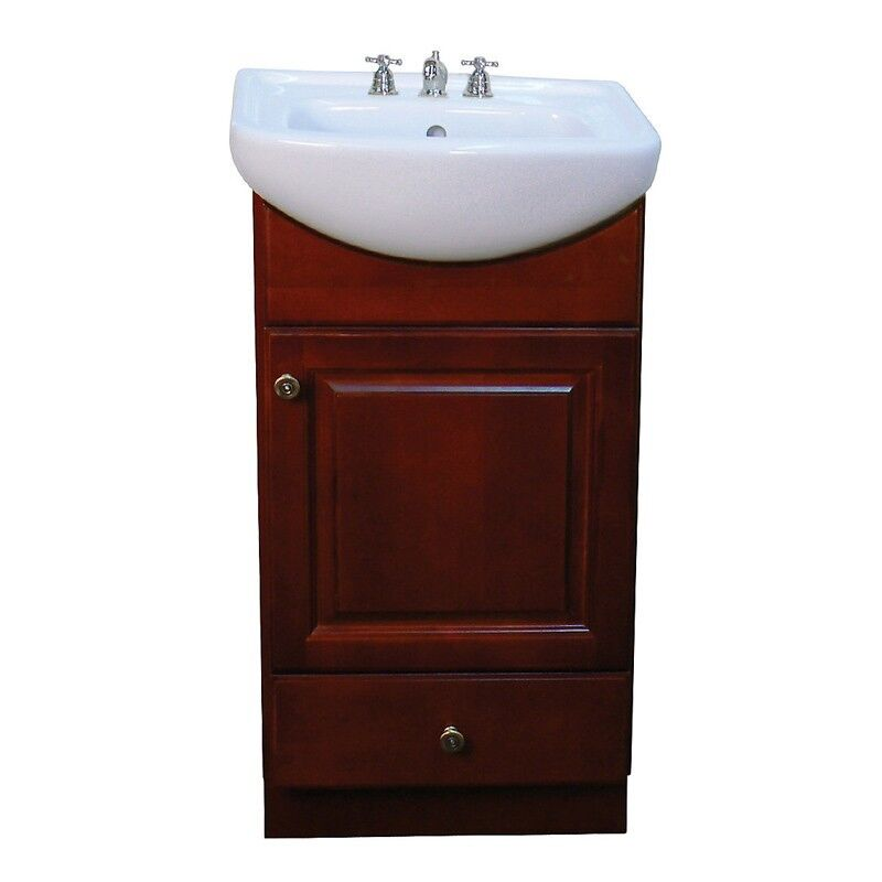 Petite 18inch Wood Dark Cherry Bathroom Vanity  eBay