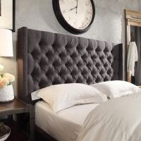 Naples Wingback Button Tufted Linen Fabric Queen Size ...