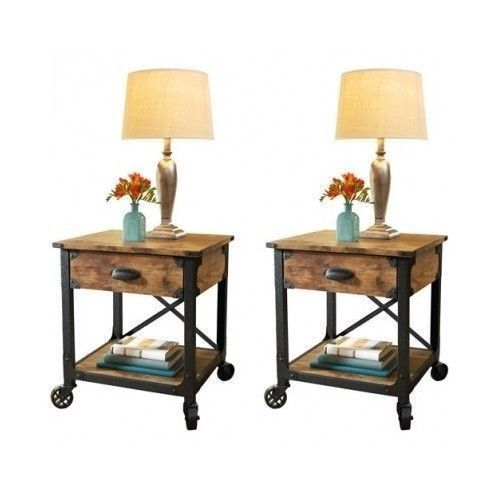 Bedside End Tables Bedroom Nightstand Country Vintage Antique Style Table Rustic  eBay