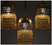 3 in 1 Handcrafted Moroccan Brass Flush Mount Ceiling Lamp ...
