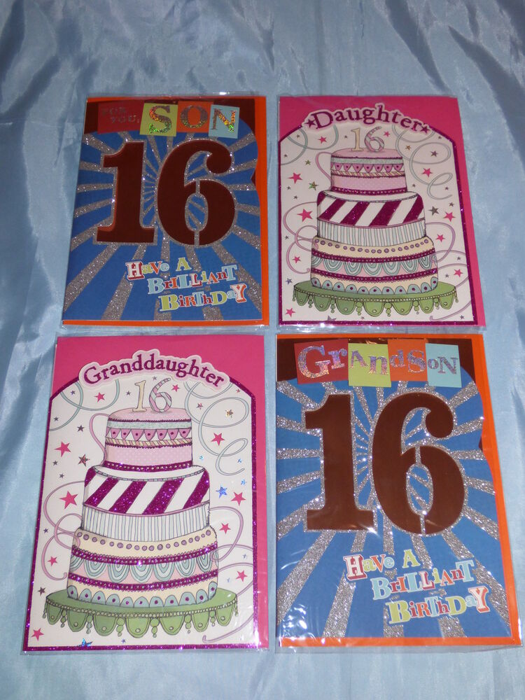 BIRTHDAY CARD SON DAUGHTER GRANDSON OR GRANDDAUGHTER 16TH