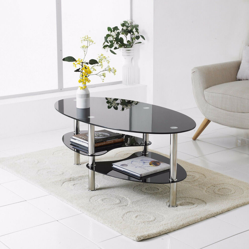 Modern Black Glass  Chrome Oval Living Room Coffee Table