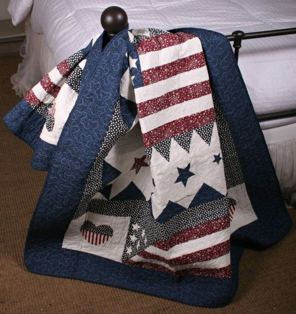 Quilt Throw Patriotic Red White Blue American Flag Wall