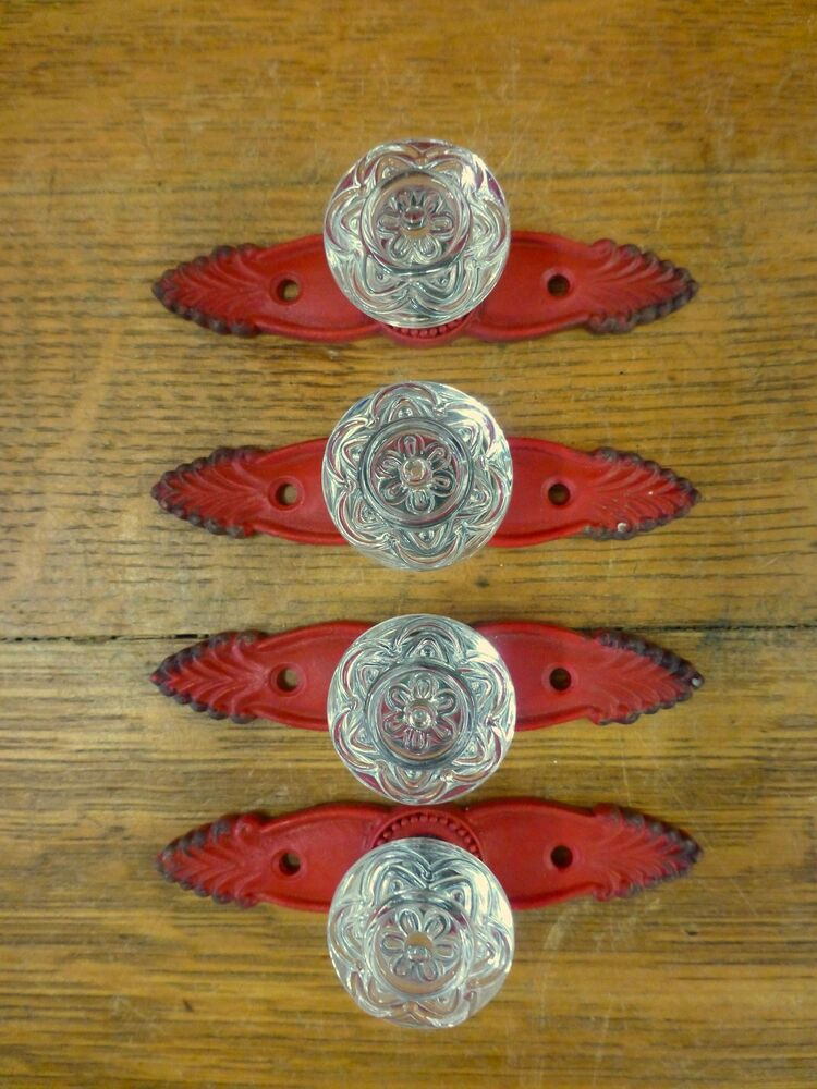 4 RED ANTIQUESTYLE FRENCH PULLS CLEAR KNOBS DRAWER