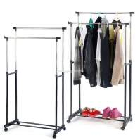 Double Rod Garment Rack Rolling Bar Rail Rack Hang Clothes