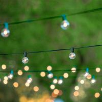 50FT Globe Patio Outdoor String Lights with 50 Clear Globe ...