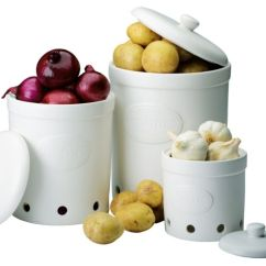 Ceramic Kitchen Canisters Childrens Kitchens The Drh Collection Bia White Garlic Potato Onion ...