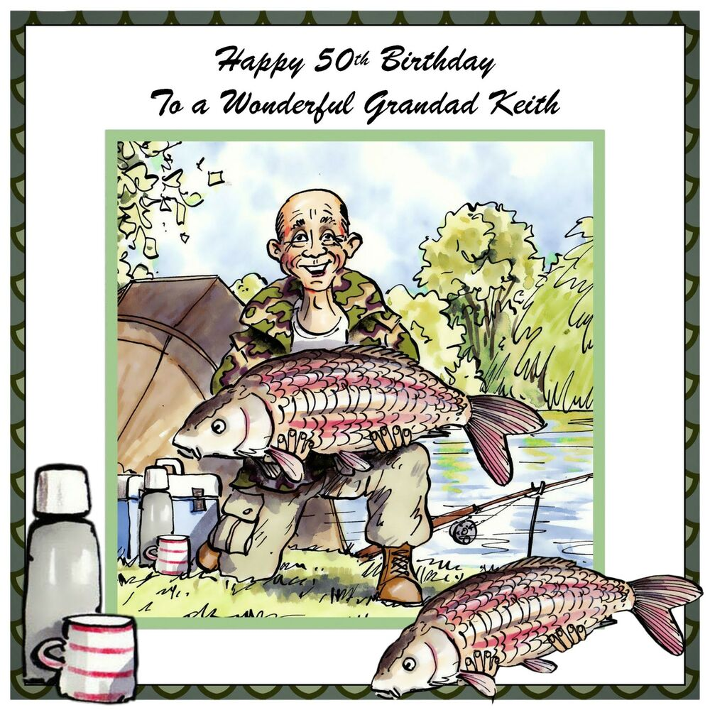 Mens Handmade Personalised Birthday Card Fish Fishing