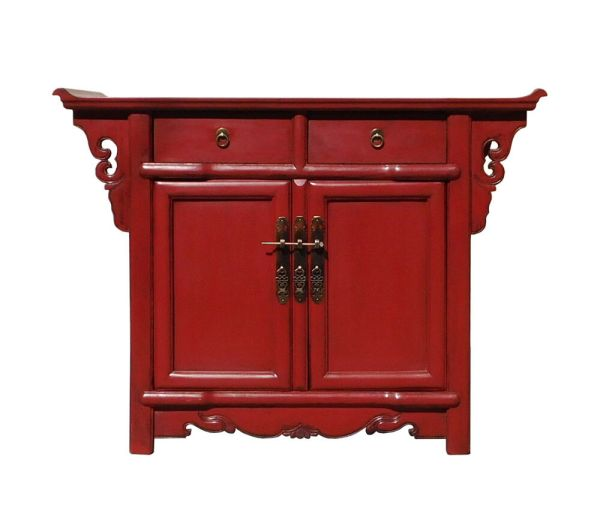 Chinese Oriental Red Altar Side Table Cabinet Cs1325