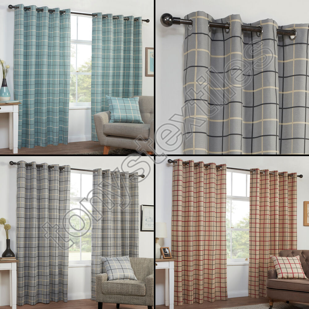 TEXTURED CHECK STRIPED RING TOP LINED PAIR EYELET CURTAINS RED GREY BLUE CREAM EBay