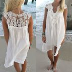Casual Beach Dress with Sleeves Plus Size Women