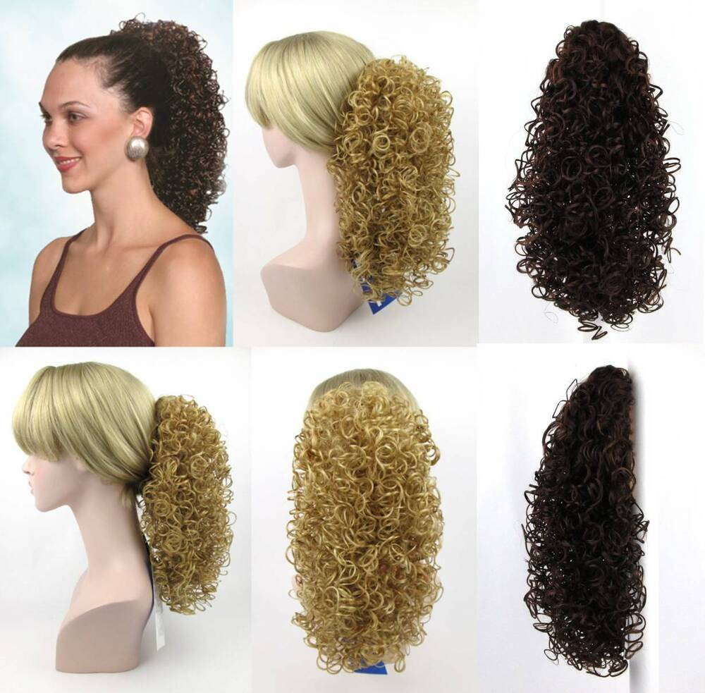 15 LONG WETLOOK SPIRAL CURL CURLY HAIR PONYTAIL HAIRPIECE