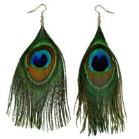 REAL PEACOCK FEATHER EARRING PAIR Bird Dangle Jewelry ...